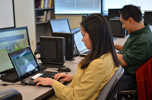 Researchers working at computers