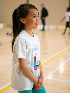 Girl playing in gym